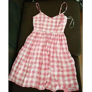 Pinup style pink gingham vintage dress M